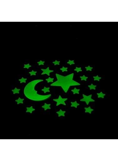 Artikel Ay Yıldızlar Fosforlu Duvar Sticker 30 Adet Renkli